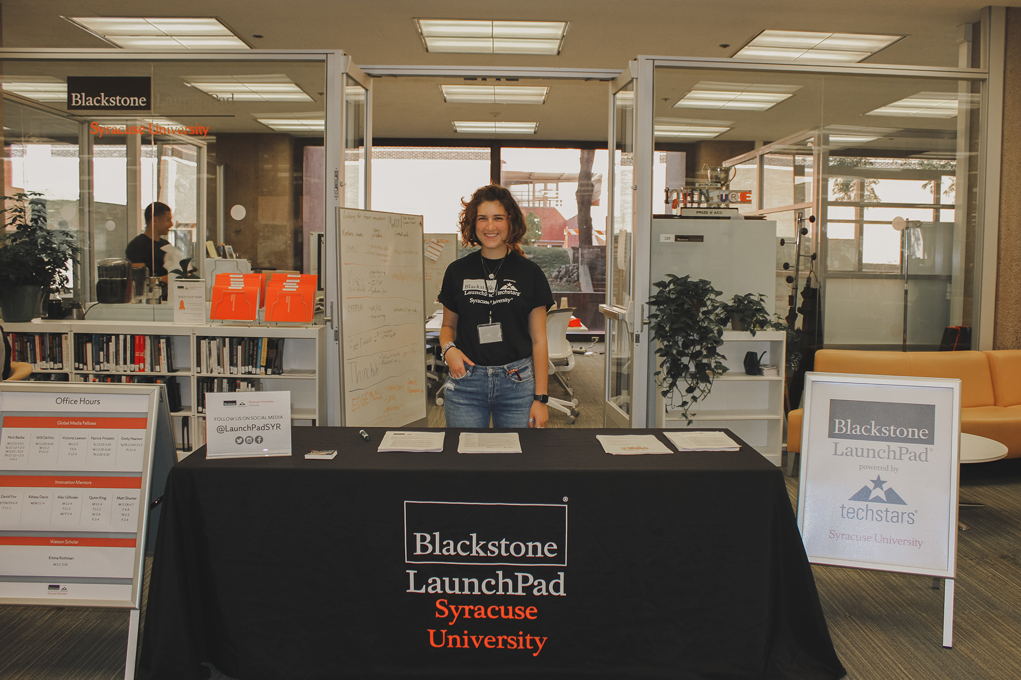 Emma Rothman welcomes students to the Syracuse University Blackstone LaunchPad powered by Techstars for Startup Weekend, 2019.