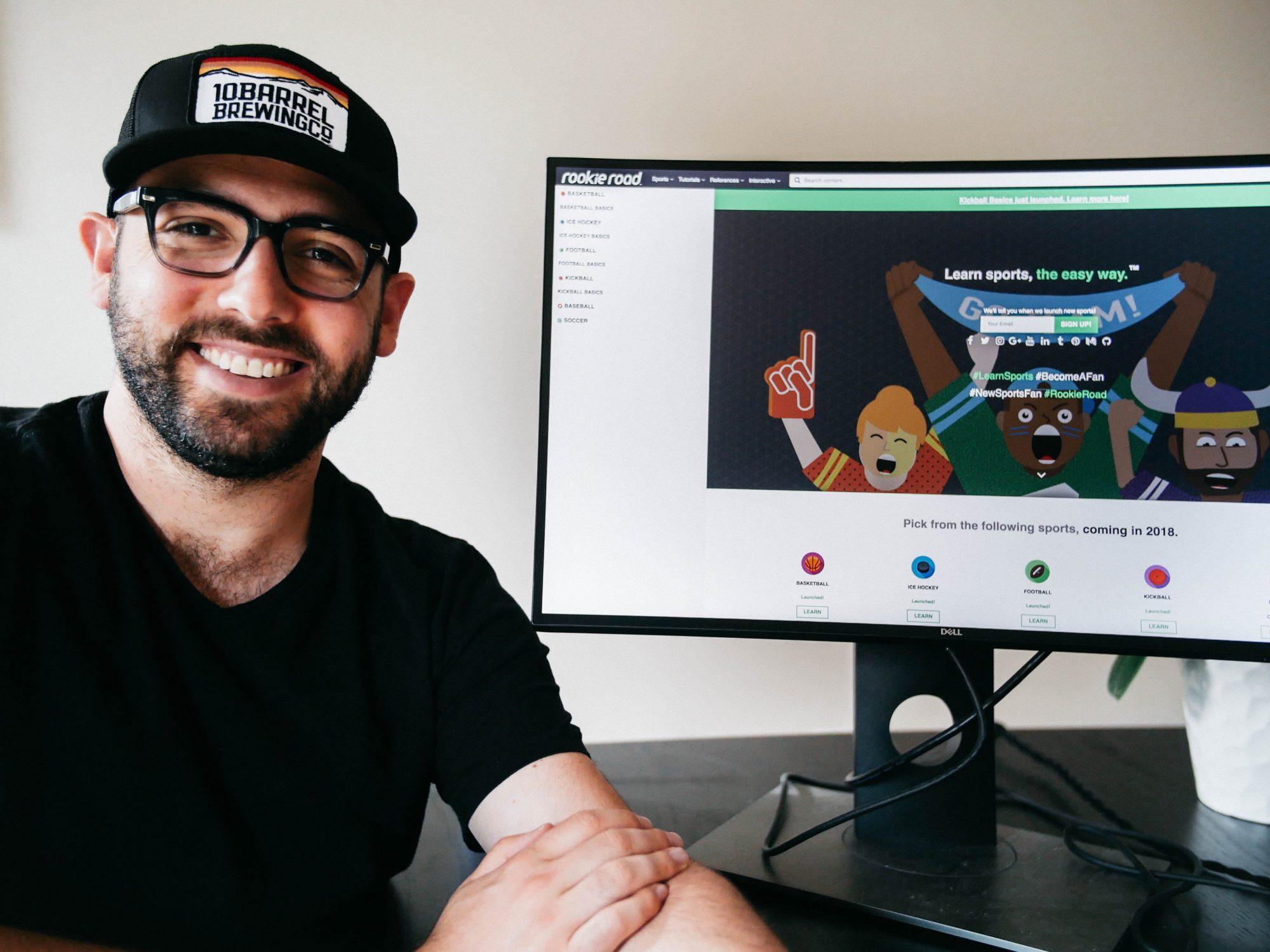 Entrepreneur in front of a desktop demo