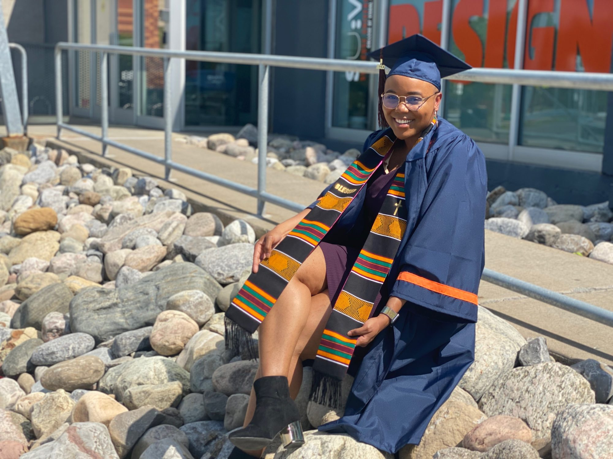 Woman in graduation regalia
